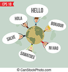 eps10, -, illustration, langues, dire, vecteur, mondiale,...