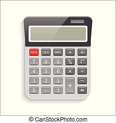 eps10, illustration., réaliste, calculatrice, isolé, arrière-plan., vecteur, blanc