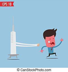 eps10, -, ilustração, vetorial, corrida, siringa, paciente, caricatura, perseguição
