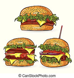 eps10, ilustración, hamburguesa, background-, vector, ...