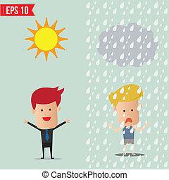 eps10, -, ilustración, vector, poniendo común, debajo, hombre de negocios