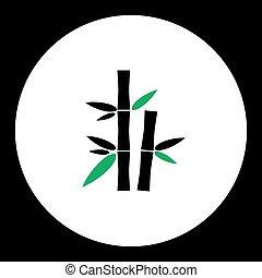 eps10, jednoduchý, List, nezkušený, silueta, bambus, ikona, čerň