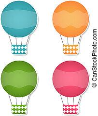 eps10, jogo, ar, vetorial, bandeiras, balões
