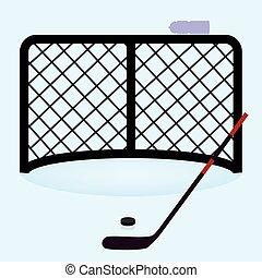 eps10, krążek, lód hokej, brama, netto, wtykać