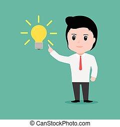 eps10, krijgen, idee, vector, iets, zakenman, spotprent