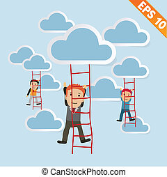 eps10, ladder, -, illustratie, vector, zakenman, beklimming, spotprent