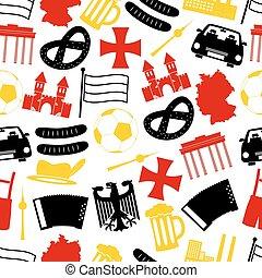 eps10, land, seamless, symbolen, thema, duitsland, model
