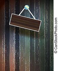eps10, legno, cartello, wall., più, vuoto