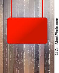 eps10, legno, cartello, wall., vuoto, invecchiato, rosso