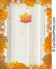 eps10, legno, foglie, autunno, fondo., più