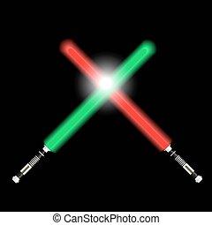 eps10, licht, schwerter, zwei, kampf, zukunft, grün rot