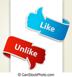 eps10, ligesom, unlike, blogs, oppe, illustration, derned, vektor, icons., tegn, tommelfinger, websites.