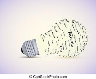 eps10, lumière, country., idée, vecteur, ampoule
