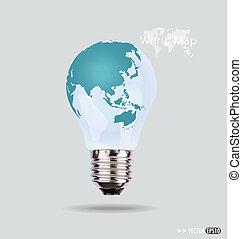 eps10, luz elétrica, map., ilustração, vetorial, bulbo, mundo