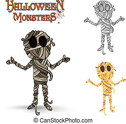 eps10, mamusia, spooky, halloween, ilustracja, rząd, potwory