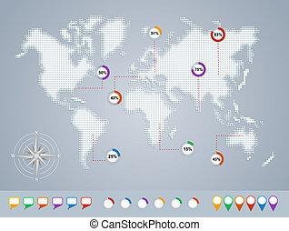 eps10, mapa, modelo, infographics, mundo, geo, file.