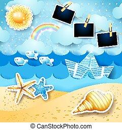 eps10, marine, photo, illustration, vecteur, bateau, frames., papier, soleil, été