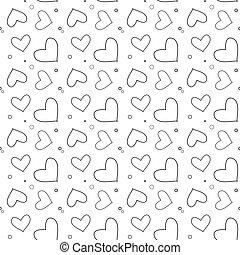 eps10, modello, seamless, illustrazione, valentina, day., fondo., s, vettore, cuori, linea, bianco