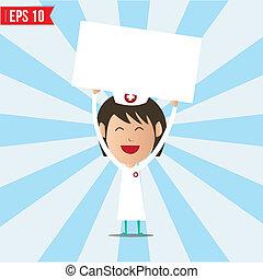 eps10, mostrando, branca, -, ilustração, vetorial, tábua, enfermeira, caricatura
