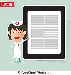 eps10, mostrando, -, ilustração, vetorial, relatório, enfermeira, caricatura