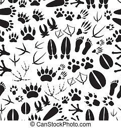 eps10, motívum, lábnyomok, seamless, fekete, állat, fehér