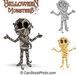 eps10, mummia, sinistro, halloween, illustrazione, file, mostri