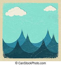 eps10, orageux, paper., illustration, mer, nuages