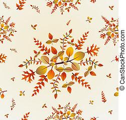 eps10, padrão, folhas, seamless, outono, experiência., file.