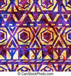 eps10, padrão, tribal, shapes., seamless, vetorial, retro, geomã©´ricas, texture.