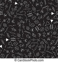 eps10, patrón, símbolos, ingeniería, eléctrico, esquemático