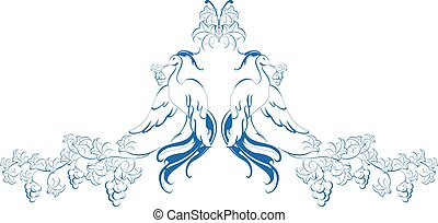eps10, pattern., illustratie, vogels, vector, paradijs, vine.