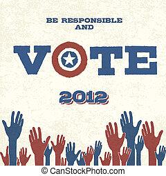 eps10, plakat, abbildung, vote!, vektor, retro