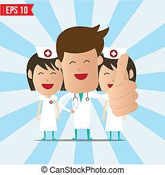eps10, polegar, doutor, mostrar, -, cima, ilustração, vetorial, sorrizo, enfermeira, caricatura