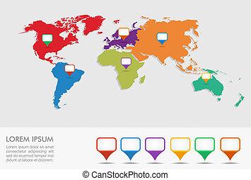 eps10, ponteiros, infographics, mapa, mundo, posição, geo, file.