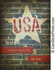 eps10, poster., vector, día, independencia