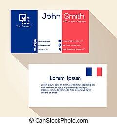 eps10, povolání, jednoduchý, Francie, barvy,  design, Karta