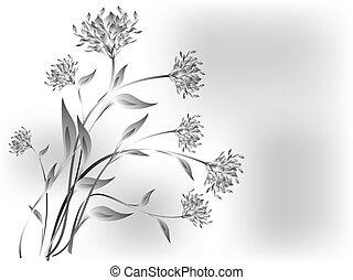 eps10, prado, cinzento, ilustração, vetorial, base., flores