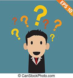 eps10, -, pregunta, ilustración, vector, marcas, hombre de...