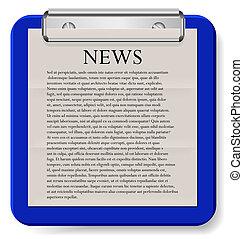 eps10, presse-papiers, isolé, vecteur, white., nouvelles