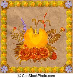 eps10, quadro, composição, fundo, folhas, floral, antigas, paper.