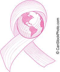 eps10, rák, ábra, tudatosság, világ, file., szalag, mell