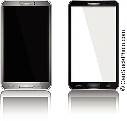 eps10, réaliste, mobile, écran, isolé, illustration, téléphone, vecteur, arrière-plan., vide, blanc