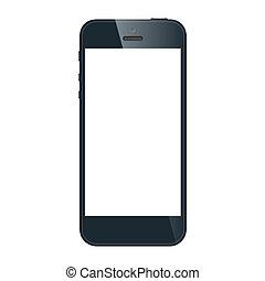 eps10, réaliste, mobile, écran, isolé, téléphone, vecteur, noir, arrière-plan., vide, blanc