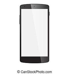 eps10, réaliste, mobile, écran, isolé, téléphone, vecteur, noir, white., vide