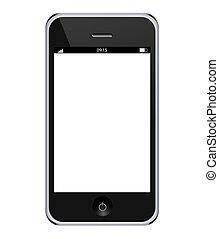 eps10, réaliste, mobile, isolé, téléphone, vecteur, arrière-plan., blanc