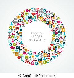 eps10, réseau, icônes, média, composition, social, cercle, file.