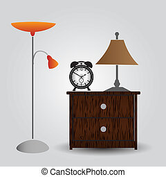 eps10, reloj, alarma, cabecera, dormitorio, tabla