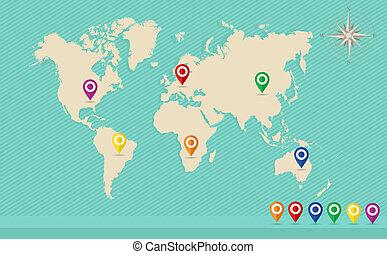 eps10, rosa, mappa, piolini, vettore, mondo, posizione, geo, file., vento