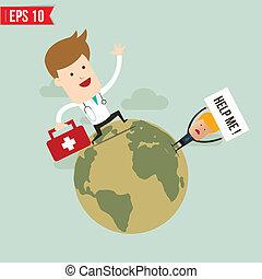 eps10, service cas urgent, docteur, -, illustration, suitecase, vecteur, porter