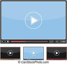 eps10, simple, illustration, joueur, vecteur, vidéo, conception